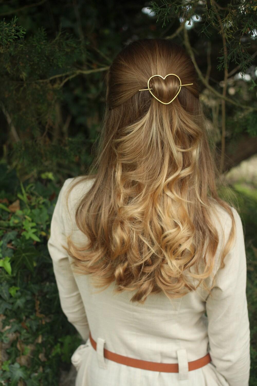 Heart hair barrette br...