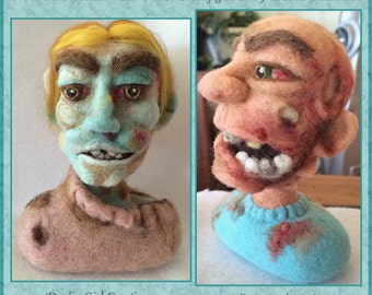 """Be a Zombie! Made to Order Custom Zombie Bust of You or Loved One - 6"""" Tall Needle Felted 100% Wool 3D Sculpture (Custom Order) - Gift Boxed"""
