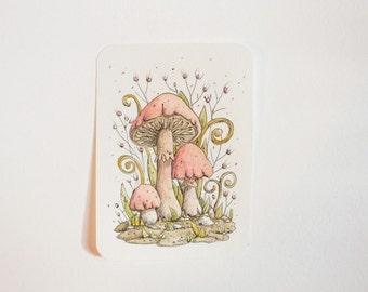 "Original watercolor ""pink mushrooms""- fantasy Illustration by Charlotte Lyng"