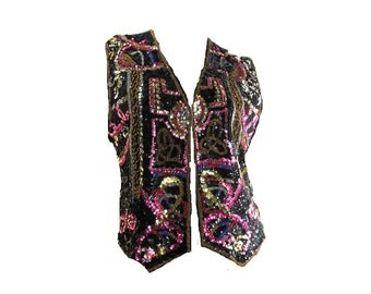 sequin clothing -  beaded top  evening clothing - party vest - sequined vest - Colorful vest  - Large vest -  # 104