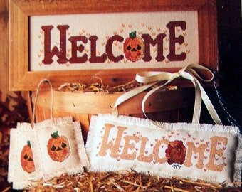 Always Welcome By Kathie Rueger Vintage Cross Stitch Pattern Leaflet 1989