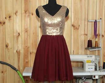 2016 Burgundy Bridesmaid dress,Rose Gold Sequin Wedding dress,V-neck V Back  Burgundy Bridesmaid dress