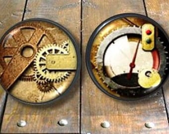 Steampunk Knob - Rusty Gauges and Gears - Drawer Pull - Rustic, Industrial, Machine - Dresser, Cabinet- Furniture, Cabinet Door - 815D32