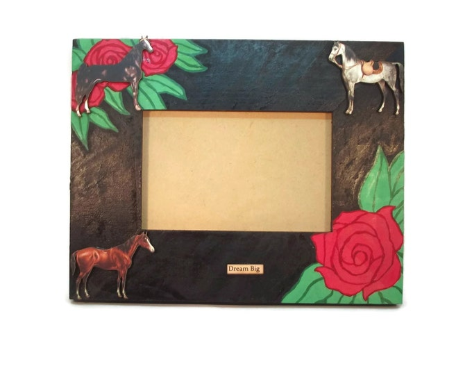5x7 Handmade Kentucky Derby Run for the Roses Horse Photo Picture Frame, OOAK, One of a Kind