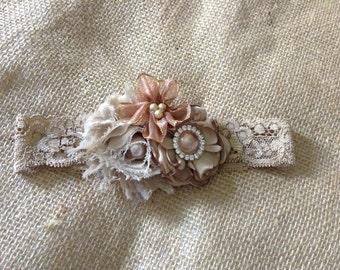 Rustic Country Couture Headband-girls headband-newborn headband,photo prop,fall headband,burlap headband