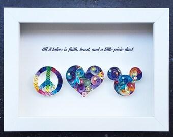 "Quilled Paper Art: ""Peace,Love & Joy"""