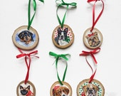 Custom Pet Portrait Ornament on Wood Slice