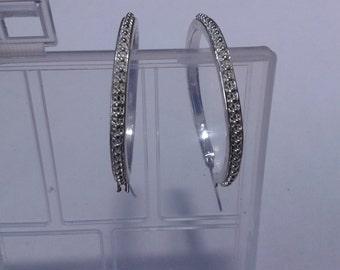 """Vintage silver and rhinestone hoop earings.  Large silver and diamond sparkle hooped earings. 1.5"""".wide"""