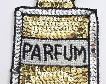 "French Perfume Bottle Appliqué, Sequin Beaded, 6"" x 3.5""  -10772-B324"