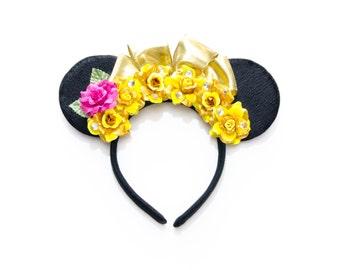 Belle Mouse Ears Headband, Princess Mouse Ears, Beauty and the Beast Ears, Flower Mouse Ears, LED Headband, Beauty and the Beast Costume