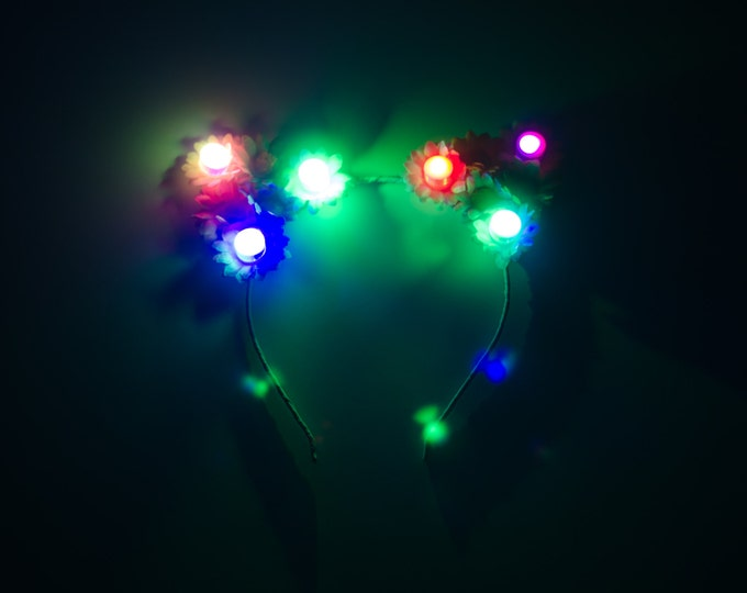 Pastel Rainbow LED Cat Ear Headband