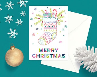 Merry Christmas Stocking Greeting Card – christmas card, christmas, holiday, stocking, candy cane, illustrated, present