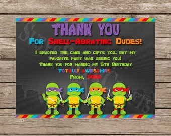 TMNT Made to Match Thank You Card, Digital File, You Print