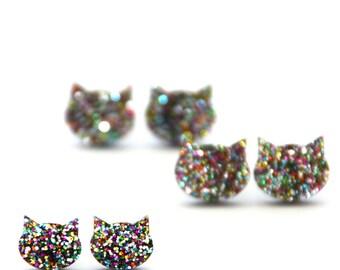 Cat Earrings · Rainbow Glitter Cat Earrings