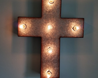 Light Up Cross Marquee Religious Decor Sign