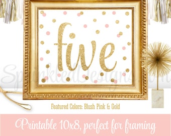 5th Birthday Party Sign - Fifth Birthday Sign - Number Five Sign - Blush Pink Gold Glitter - Printable Girl Birthday Party Decorations