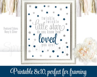 Twinkle Little Star Do You Know How Loved You Are - Printable Boys Room Nursery Wall Art Birthday Baby Shower Sign Navy Blue Silver Glitter
