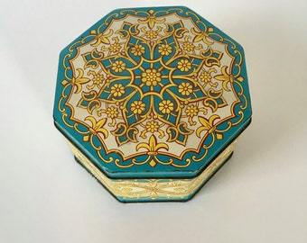 Vintage Blue and Yellow Tin, Blue and Yellow Flower Tin, Octagonal Flower Tin