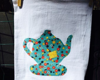 Tea towel with a cozy little teapot cotton flour sack