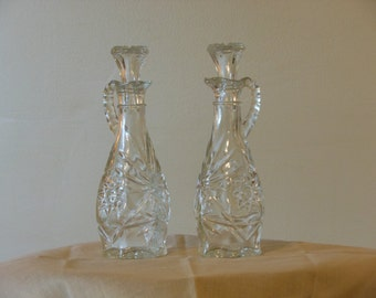Two Matching Cut Crystal Cruets w/ Glass Stoppers