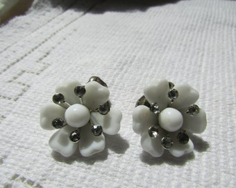 Vintage estate white milk glass and rhinestones flower clip on earrings wedding bridal mid century