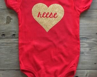 Red Customizable Heart Bodysuit