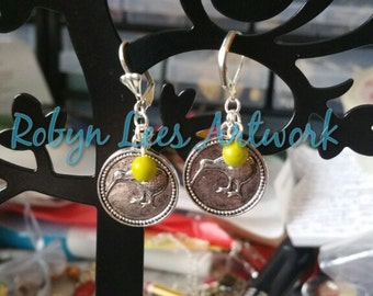 Silver Kiwi Bird Coin with Filigree Pattern Back Earrings with Olive Green and Metallic Shiny Silver Beads on Plain or Scalloped Leverbacks