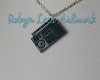 Black Laser Cut Acrylic Radio Stereo Boombox Necklace on Silver, Gold or Bronze Crossed Chain or Black Faux Suede Cord, Music