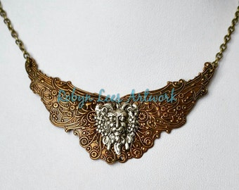 Ancient Mythology Inspired Necklace with Antiqued Brass Steampunk Swirl Wings with Silver Ancient God Zeus Stamping on Bronze Chain