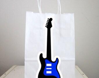 Guitar Goody Bags, Guitar Favor Bags, Guitar Gift Bags, Guitar Goodie Bags, Rock Star Goody Bags - Blue Guitar, Boy Guitar