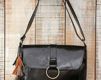 Black Messenger bag, Black Leather Bag, Medium Crossbody Bag, Black Shoulder Bag, Messenger, Satchel,