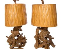 Vintage Mid Century Modern Pair Of Gnarled Wood Driftwood Lamps Original Shades