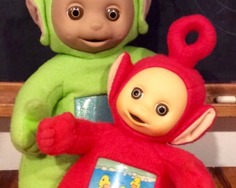2 Vintage Teletubbies Light Up Po & Talking Dipsy Plush Dolls by Playskool, Teletubby Dolls, Teletubbies, Red Teletubby, Green Teletubby