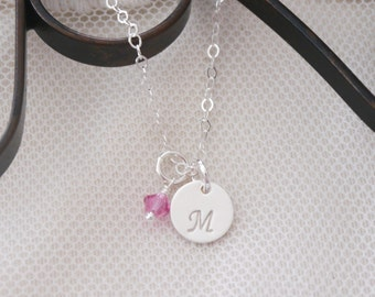 Sterling Silver Initial Necklace, Tiny Initial Necklace, Letter M Necklace, Custom Letter Birthstone, Personalized Initial Necklace, Dainty