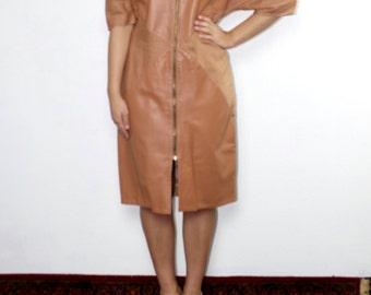 S A L E Vintage 80's Italian Camel Leather Dress // Designer // Tan leather Dress Date Night Formal Leather Suede Dress Italian Leather