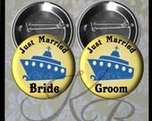 """Cruise Honeymoon Buttons, 2.25"""" Just Married Pins, Bride and Groom Pins, Bride and Groom Buttons, Wedding Keepsake"""