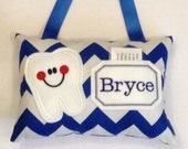 Personalized Tooth Fairy Pillow-Boy Door Hanging Tooth Fairy Pillow-Chevron Tooth Pillow