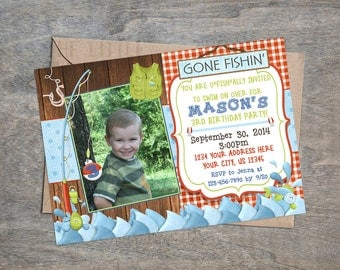 Fishing Invitation | Fish Lake Pond Rustic Boy Girl Birthday Party Invite
