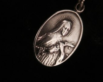 Vintage St. Theresa Double Sided Necklace Pendant