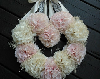 Coffee Filter Wedding Wreath/ Vintage Wedding/ Rustic Wedding/ Heart Wreath/ Nursery Decor