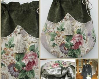 ROSE GARDEN Crossbody Chenille Velour Drawstring Bag, Bohemian Bag, Gypsy Bag, Crossbody Bag, Victorian Bag, Handmade Bag, Ravengirl Design