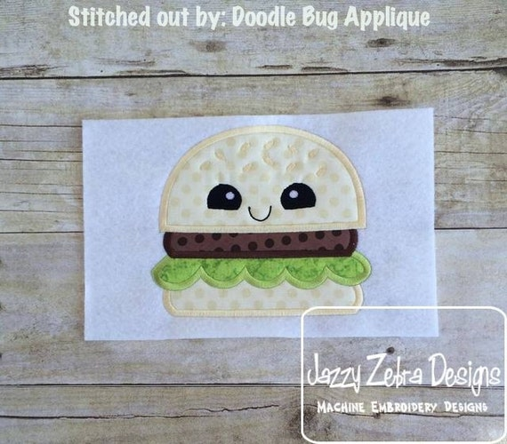 Hamburger with Face Appliqué Embroidery Design - hamburger appliqué design - picnic appliqué design - barbecue appliqué design - summer