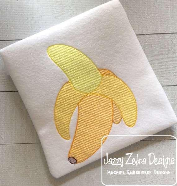 Banana Color Sketch Embroidery Design - banana sketch Embroidery Design - fruit sketch Embroidery Design