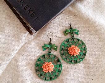 Rustic Antique Bronze Filigree Earrings, Flower Earrings, Boho Earrings, Nature Earrings, Wedding Earrings, Gift for Her