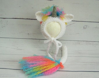 Unicorn Newborn Bonnet and Tail Set, Unicorn Costume, Rainbow Unicorn, Photography Prop, Baby Unicorn, Unicorn Hat, My Little Unicorn Hat,UK