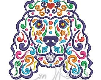 MACHINE EMBROIDERY FILE - Calavera Irish Water Spaniel, Dia de los muertos, Mexican design, Halloween design, calavera dog, Day of the dead