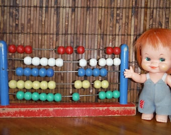 Vintage 1950's Wood Child's Abacus - Wooden School Abacus - Colourful 1950's Abacus - Vintage Educational School Toy - Mid Century Abacus