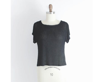 minimalist black top / textured black top / oversized black top