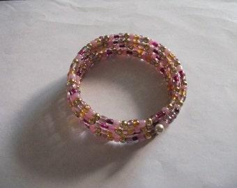Memory coil beaded bracelet