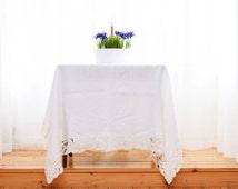 Linen tablecloth, White flax tablecloth, Linen tablecloth rectangle, Flax tablecloth, Dining linen tablecloth, White wedding tablecloth